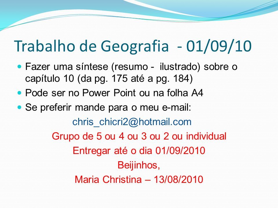 Trabalho de Geografia - 01/09/10