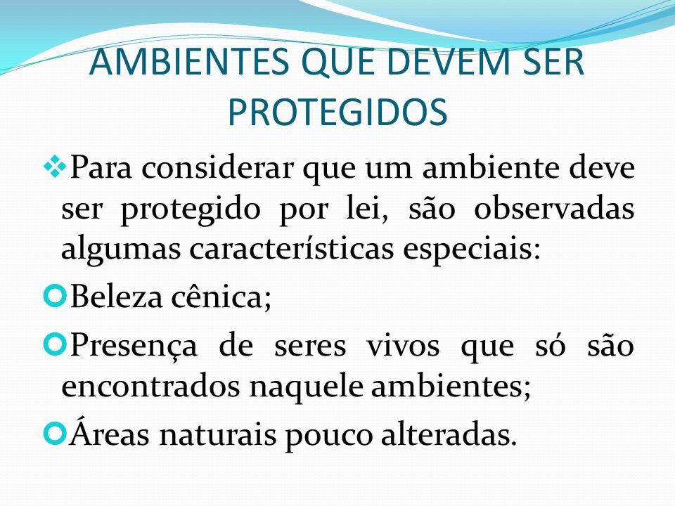 AMBIENTES QUE DEVEM SER PROTEGIDOS
