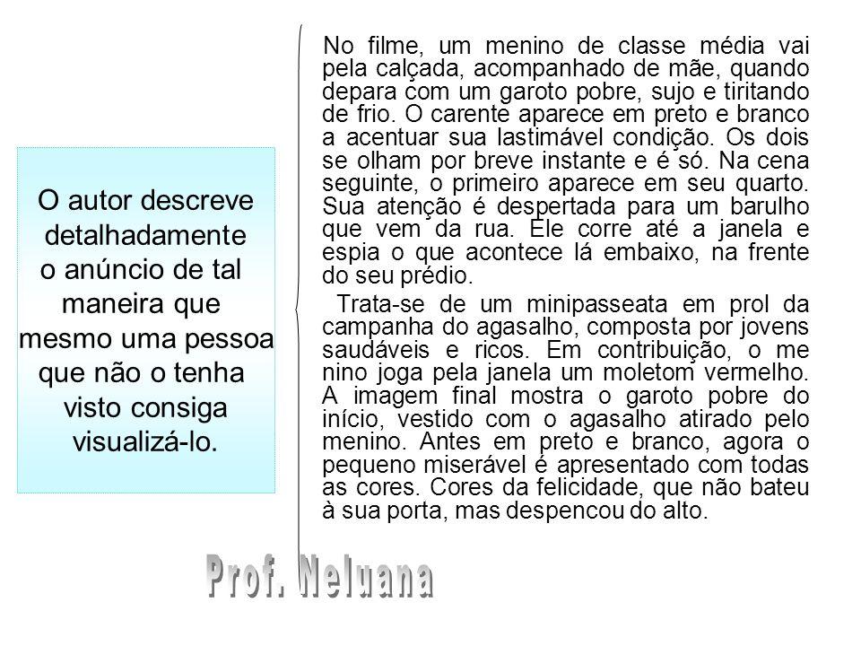 Prof. Neluana O autor descreve detalhadamente o anúncio de tal