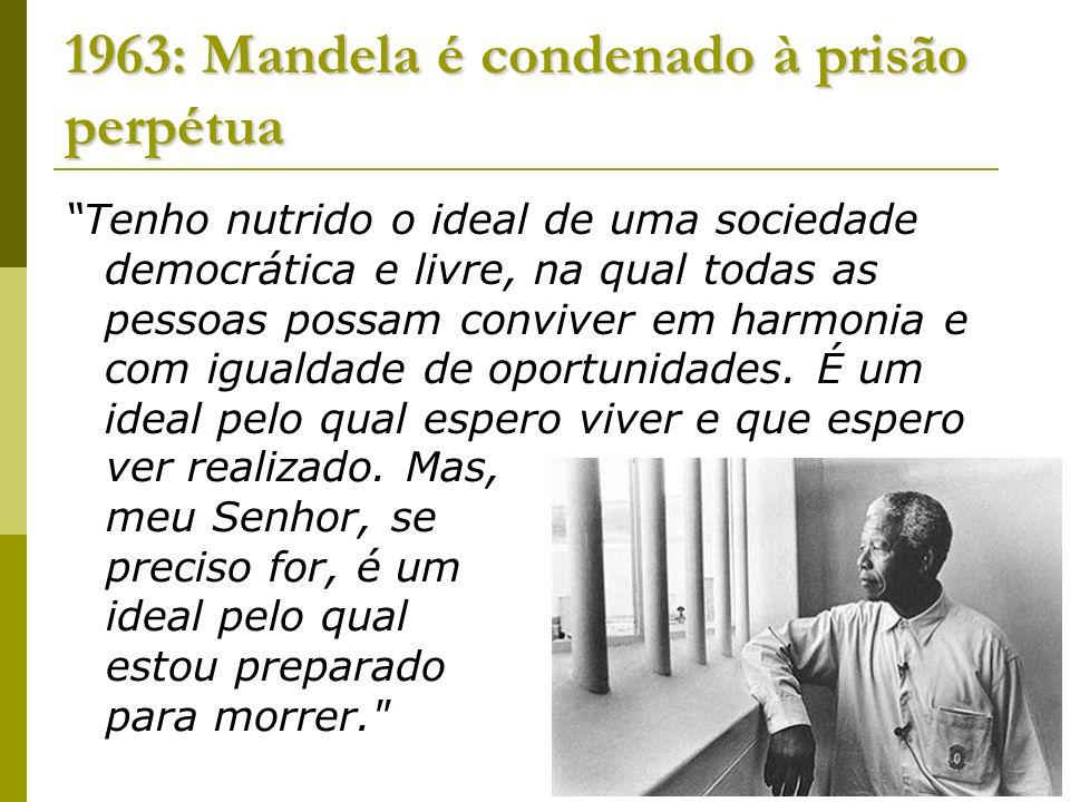 1963: Mandela é condenado à prisão perpétua