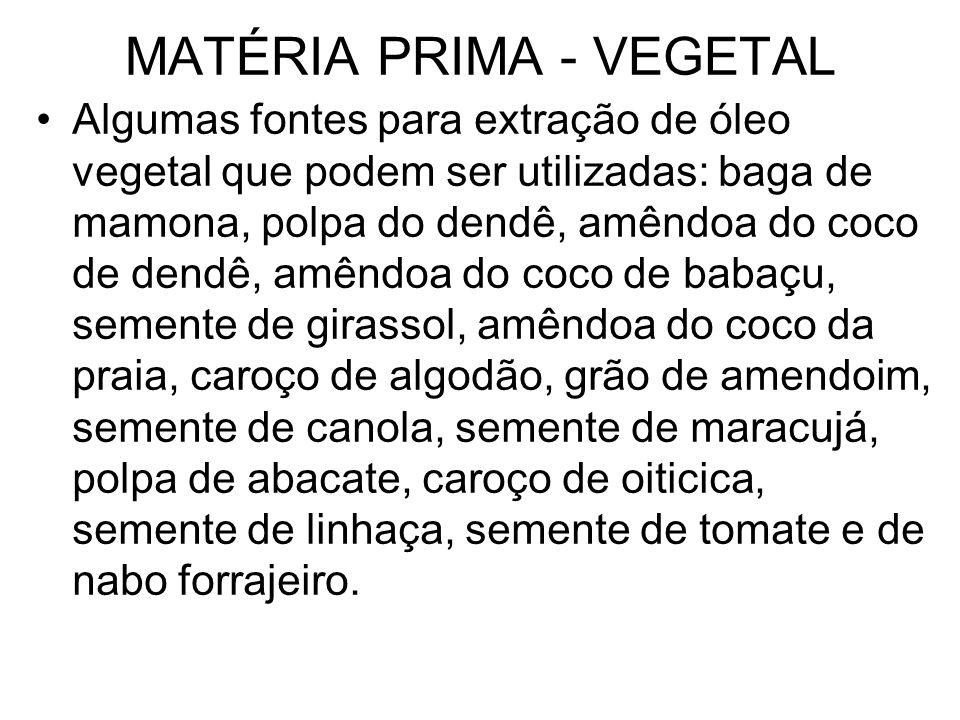 MATÉRIA PRIMA - VEGETAL