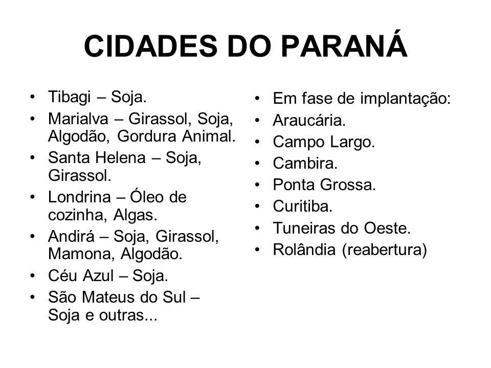 CIDADES DO PARANÁ Tibagi – Soja. Em fase de implantação: