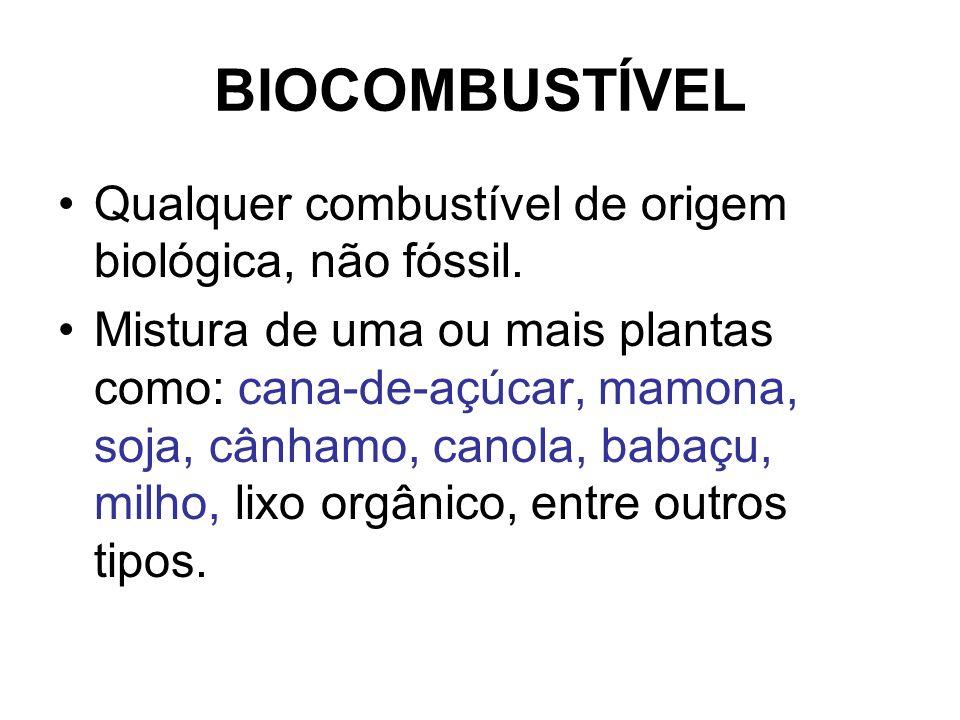 BIOCOMBUSTÍVEL Qualquer combustível de origem biológica, não fóssil.