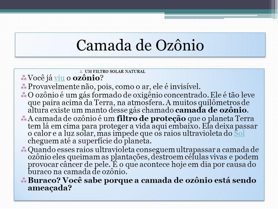 Camada de Ozônio Você já viu o ozônio