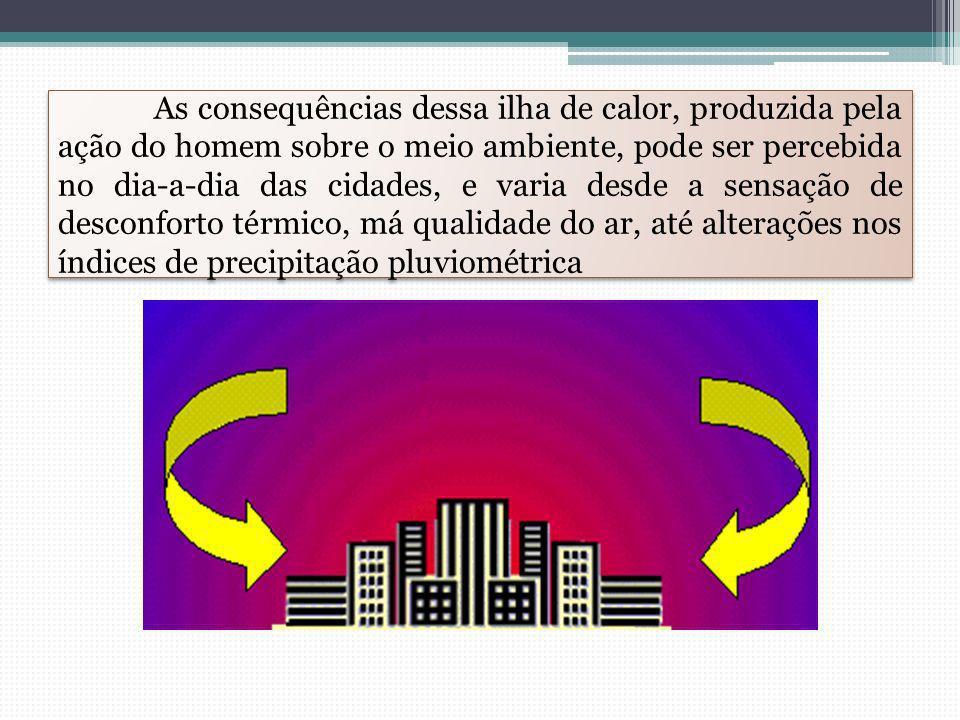As consequências dessa ilha de calor, produzida pela ação do homem sobre o meio ambiente, pode ser percebida no dia-a-dia das cidades, e varia desde a sensação de desconforto térmico, má qualidade do ar, até alterações nos índices de precipitação pluviométrica