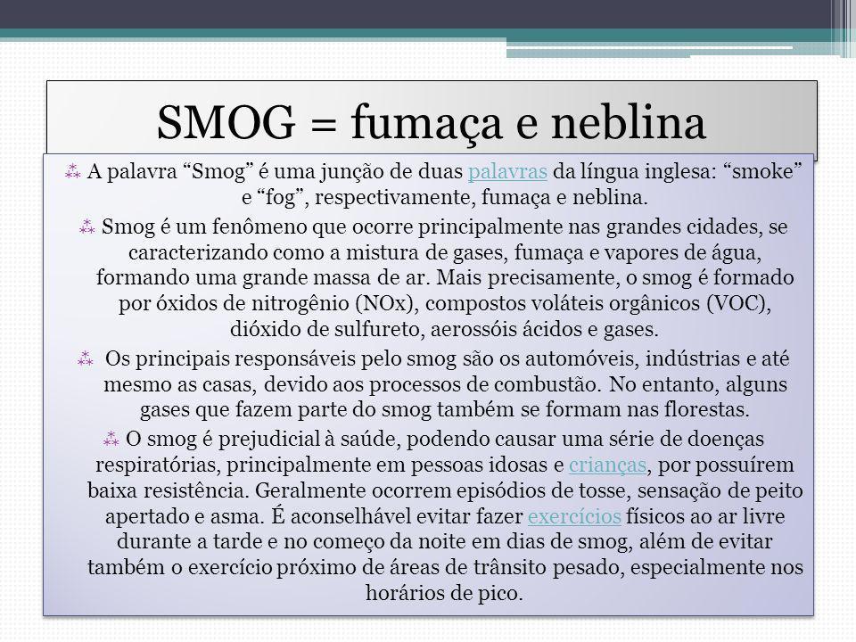 SMOG = fumaça e neblina A palavra Smog é uma junção de duas palavras da língua inglesa: smoke e fog , respectivamente, fumaça e neblina.