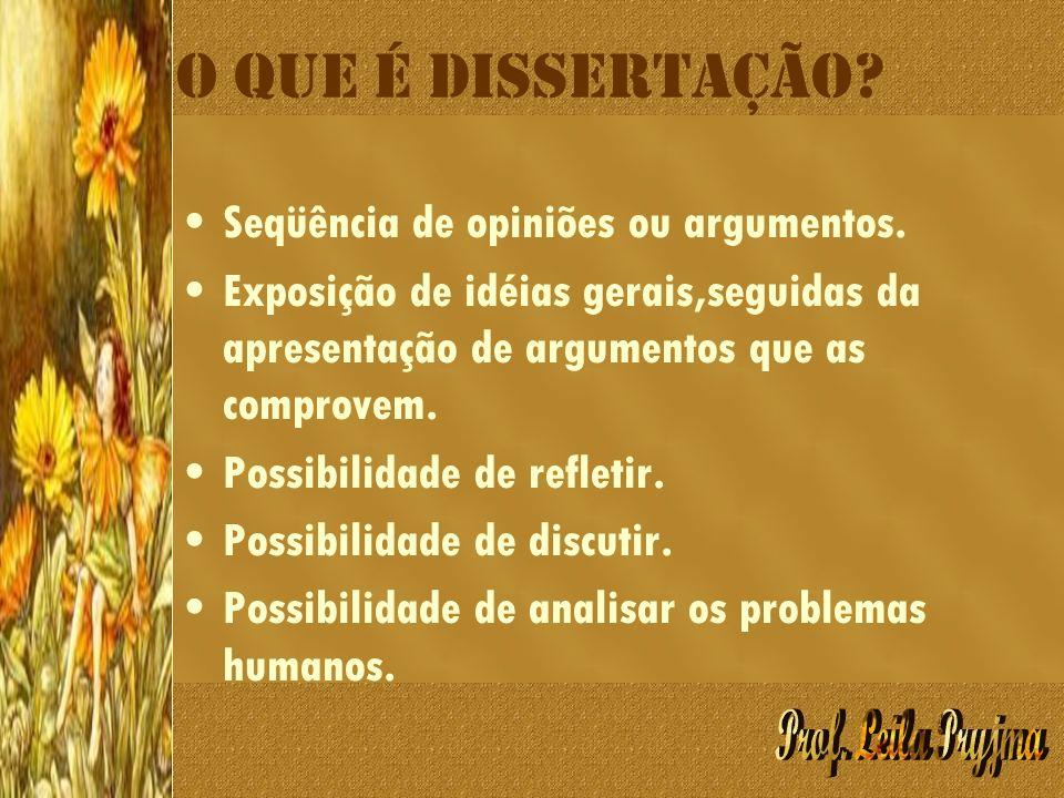 O que é dissertação Seqüência de opiniões ou argumentos.