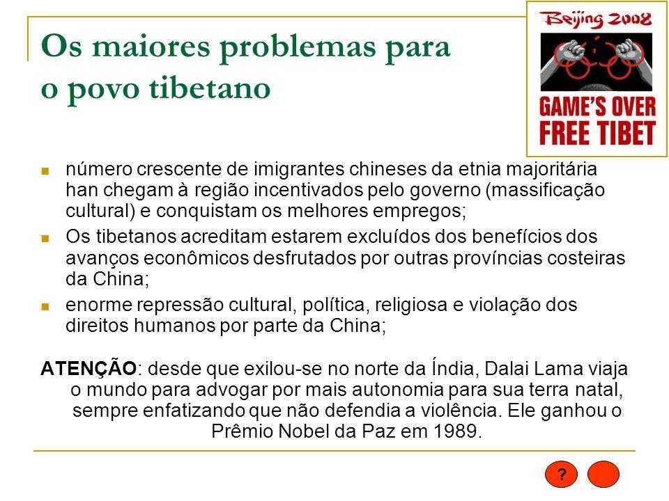 Os maiores problemas para o povo tibetano