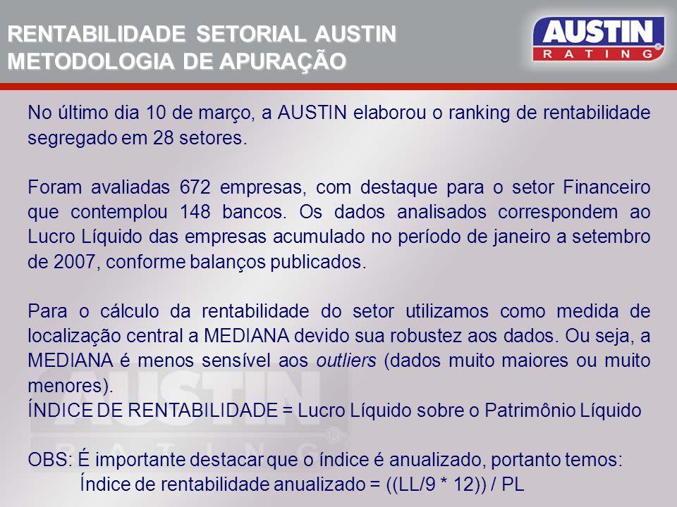 RENTABILIDADE SETORIAL AUSTIN METODOLOGIA DE APURAÇÃO