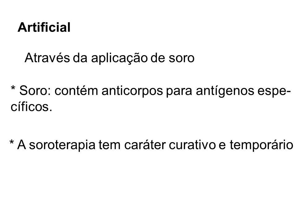 Artificial Através da aplicação de soro. * Soro: contém anticorpos para antígenos espe- cíficos.