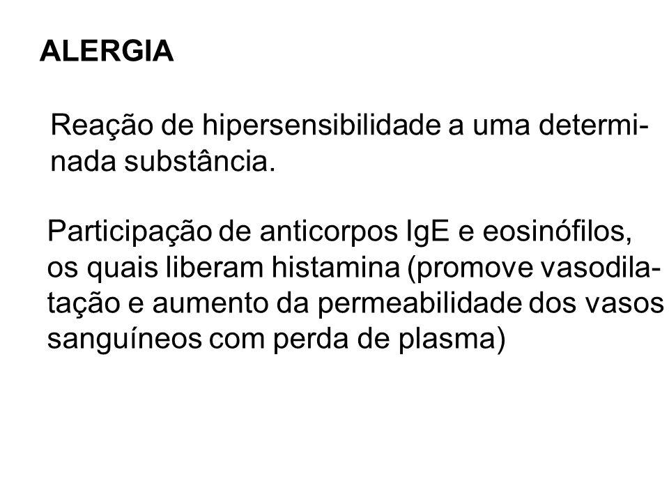 ALERGIA Reação de hipersensibilidade a uma determi- nada substância. Participação de anticorpos IgE e eosinófilos,
