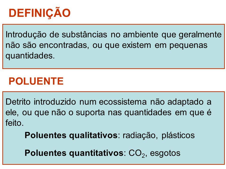 DEFINIÇÃO Introdução de substâncias no ambiente que geralmente. não são encontradas, ou que existem em pequenas.