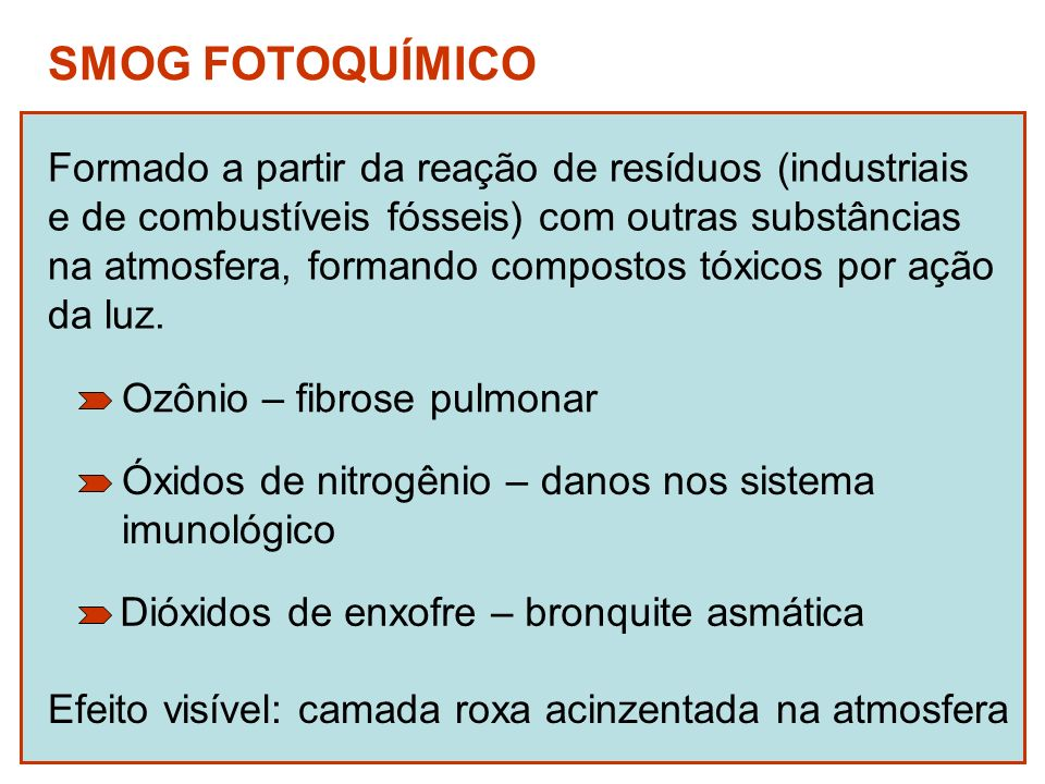 SMOG FOTOQUÍMICO Formado a partir da reação de resíduos (industriais