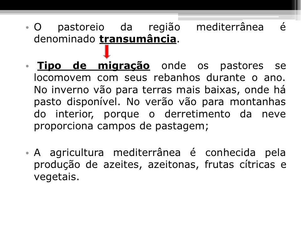 O pastoreio da região mediterrânea é denominado transumância.