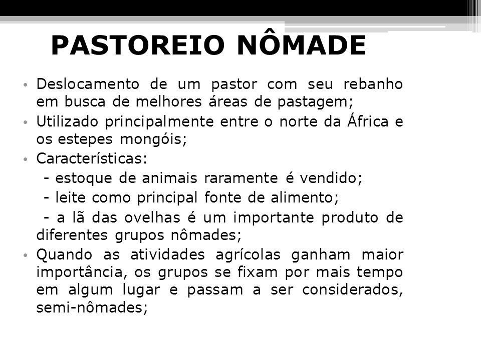 PASTOREIO NÔMADEDeslocamento de um pastor com seu rebanho em busca de melhores áreas de pastagem;