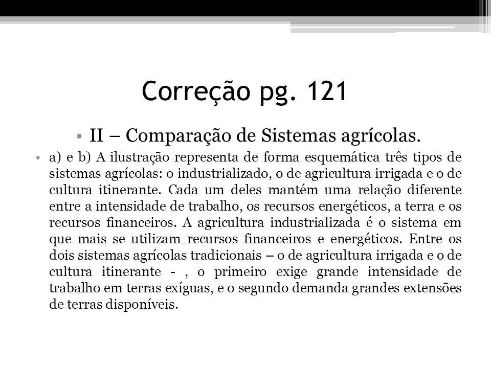 II – Comparação de Sistemas agrícolas.