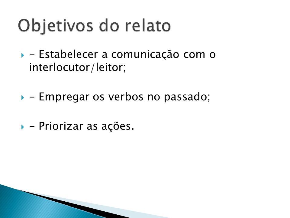 Objetivos do relato - Estabelecer a comunicação com o interlocutor/leitor; - Empregar os verbos no passado;