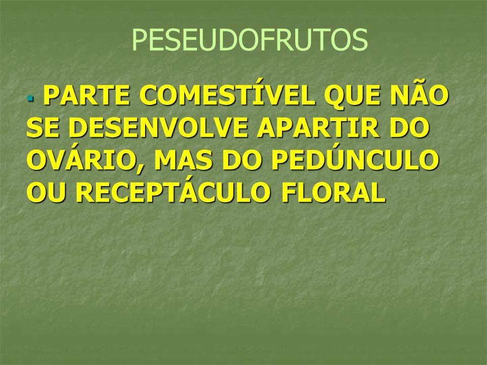 PESEUDOFRUTOS PARTE COMESTÍVEL QUE NÃO SE DESENVOLVE APARTIR DO OVÁRIO, MAS DO PEDÚNCULO OU RECEPTÁCULO FLORAL.