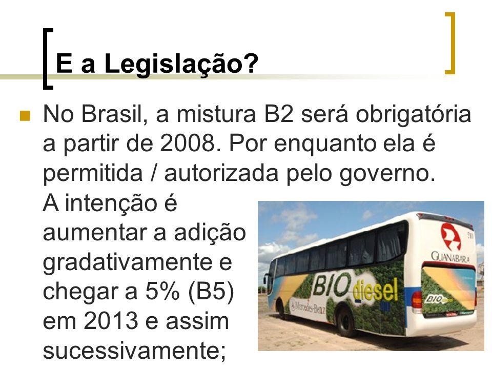 E a Legislação No Brasil, a mistura B2 será obrigatória a partir de 2008. Por enquanto ela é permitida / autorizada pelo governo.
