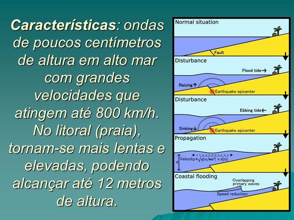 Características: ondas de poucos centímetros de altura em alto mar com grandes velocidades que atingem até 800 km/h.
