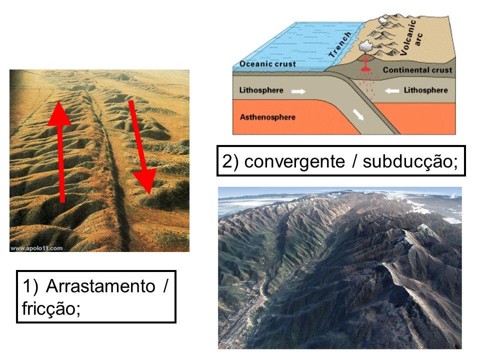 2) convergente / subducção;