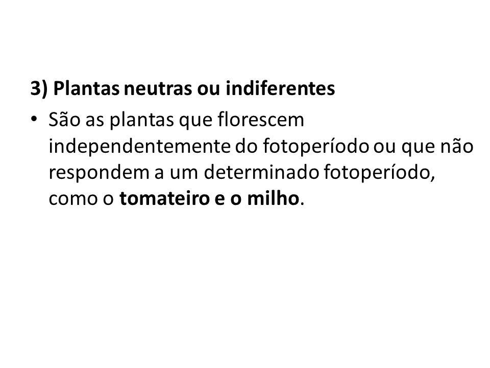 3) Plantas neutras ou indiferentes