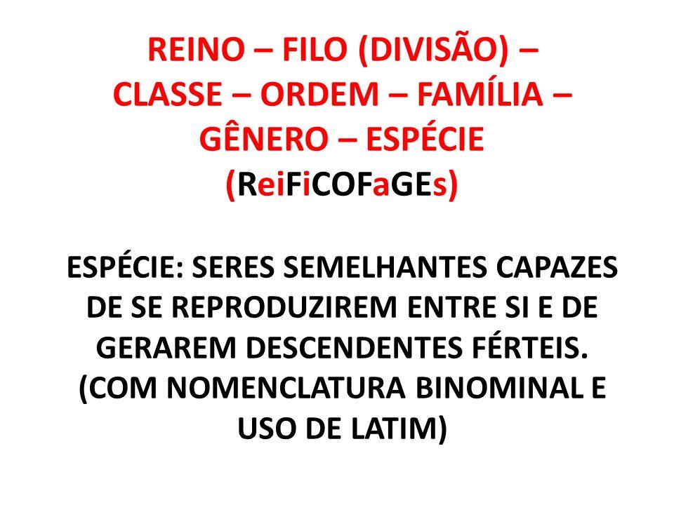 REINO – FILO (DIVISÃO) – CLASSE – ORDEM – FAMÍLIA – GÊNERO – ESPÉCIE (ReiFiCOFaGEs) ESPÉCIE: SERES SEMELHANTES CAPAZES DE SE REPRODUZIREM ENTRE SI E DE GERAREM DESCENDENTES FÉRTEIS.