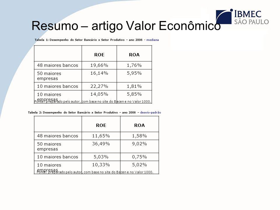 Resumo – artigo Valor Econômico