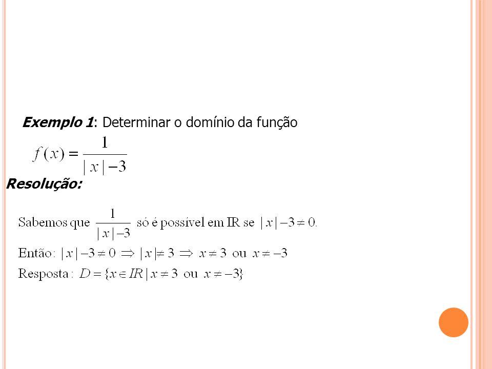 Exemplo 1: Determinar o domínio da função
