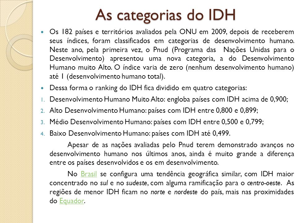 As categorias do IDH