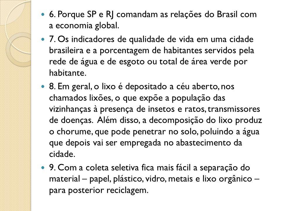 6. Porque SP e RJ comandam as relações do Brasil com a economia global.