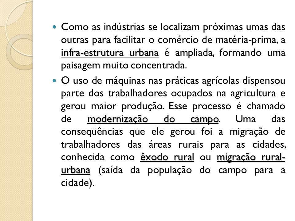 Como as indústrias se localizam próximas umas das outras para facilitar o comércio de matéria-prima, a infra-estrutura urbana é ampliada, formando uma paisagem muito concentrada.
