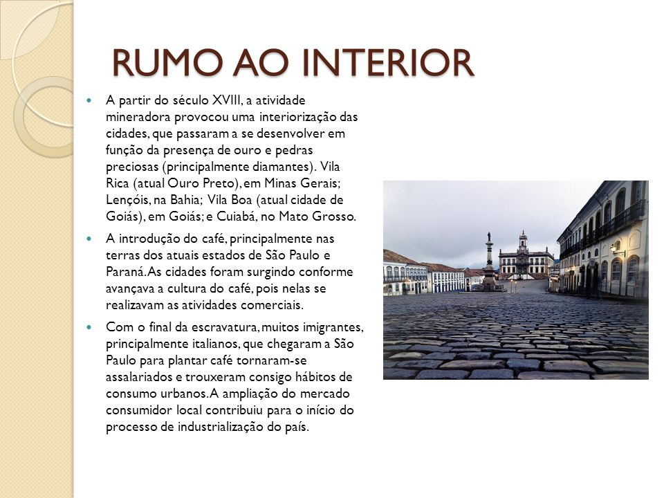 RUMO AO INTERIOR