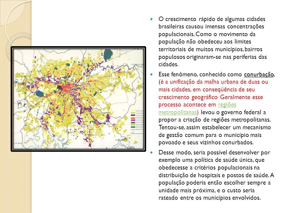 O crescimento rápido de algumas cidades brasileiras causou imensas concentrações populacionais. Como o movimento da população não obedeceu aos limites territoriais de muitos municípios, bairros populosos originaram-se nas periferias das cidades.