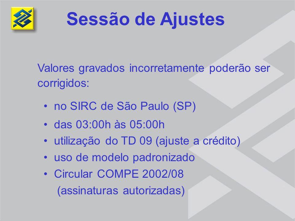 Sessão de Ajustes Valores gravados incorretamente poderão ser corrigidos: no SIRC de São Paulo (SP)