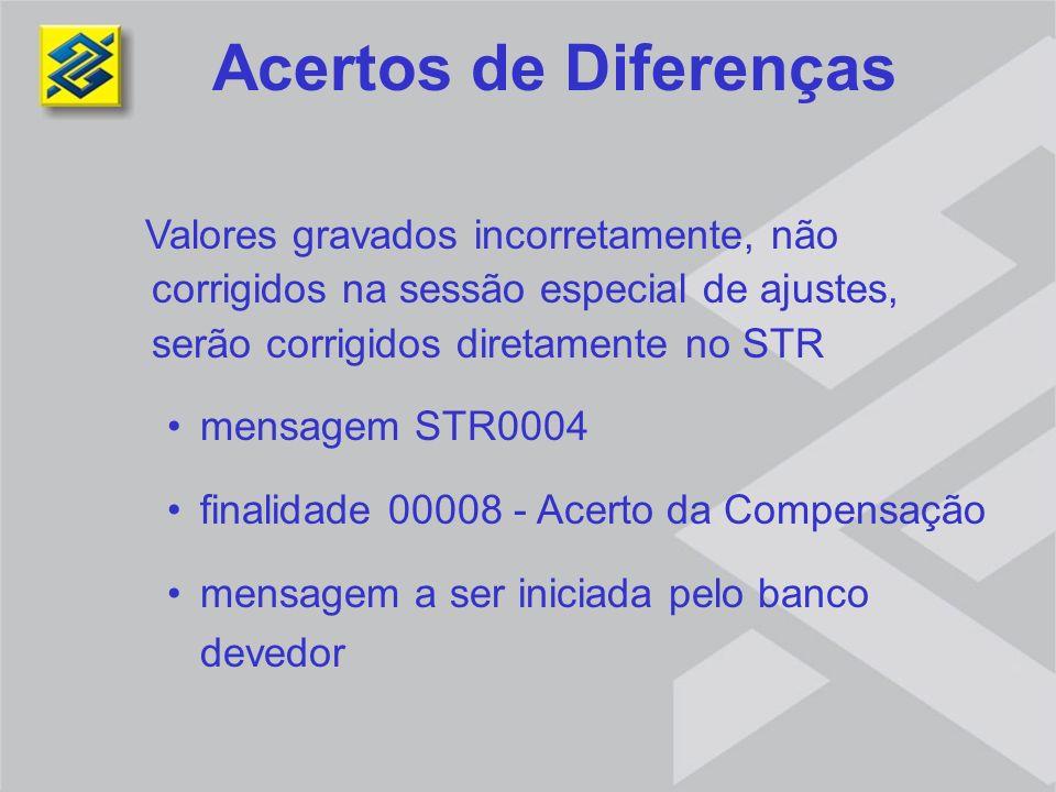 Acertos de Diferenças Valores gravados incorretamente, não corrigidos na sessão especial de ajustes, serão corrigidos diretamente no STR.