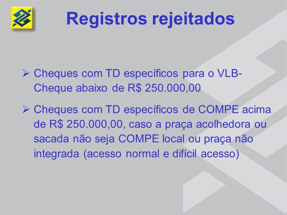 Registros rejeitados Cheques com TD específicos para o VLB-Cheque abaixo de R$ 250.000,00.