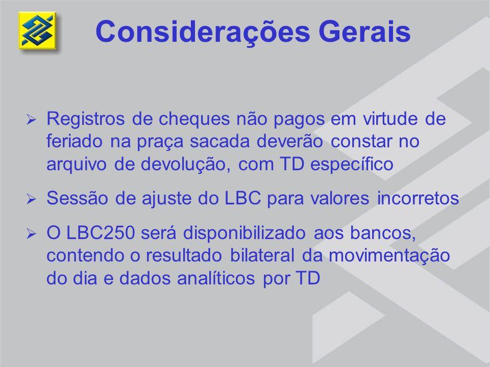 Considerações Gerais Registros de cheques não pagos em virtude de feriado na praça sacada deverão constar no arquivo de devolução, com TD específico.