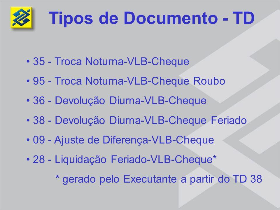 Tipos de Documento - TD 35 - Troca Noturna-VLB-Cheque