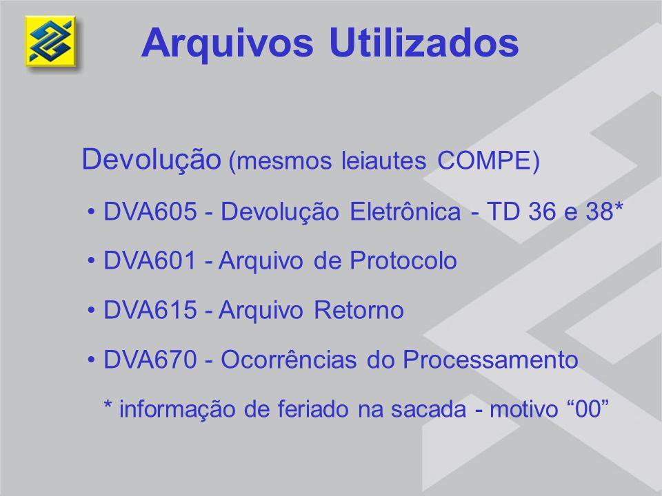 Arquivos Utilizados Devolução (mesmos leiautes COMPE)