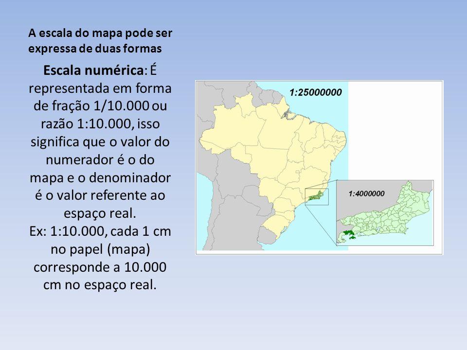 A escala do mapa pode ser expressa de duas formas