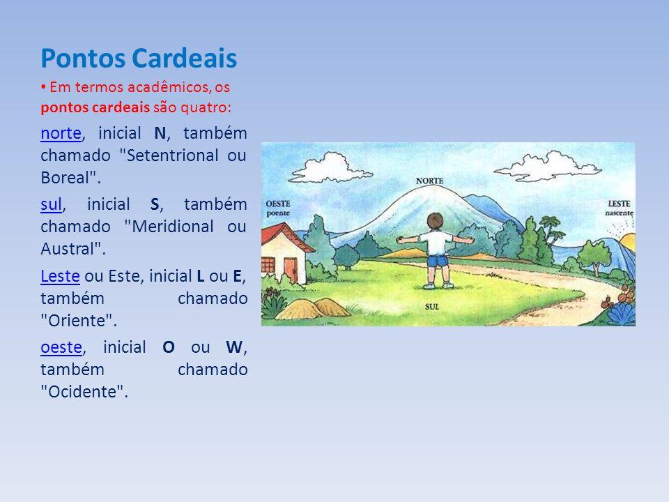 Pontos Cardeais Em termos acadêmicos, os pontos cardeais são quatro: norte, inicial N, também chamado Setentrional ou Boreal .