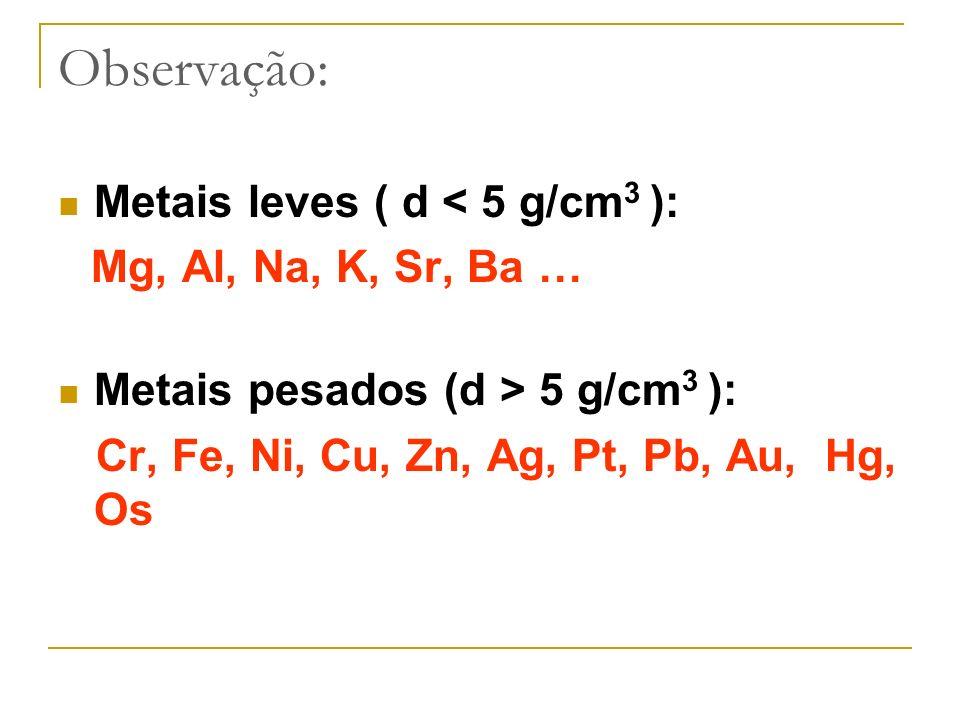 Observação: Metais leves ( d < 5 g/cm3 ):