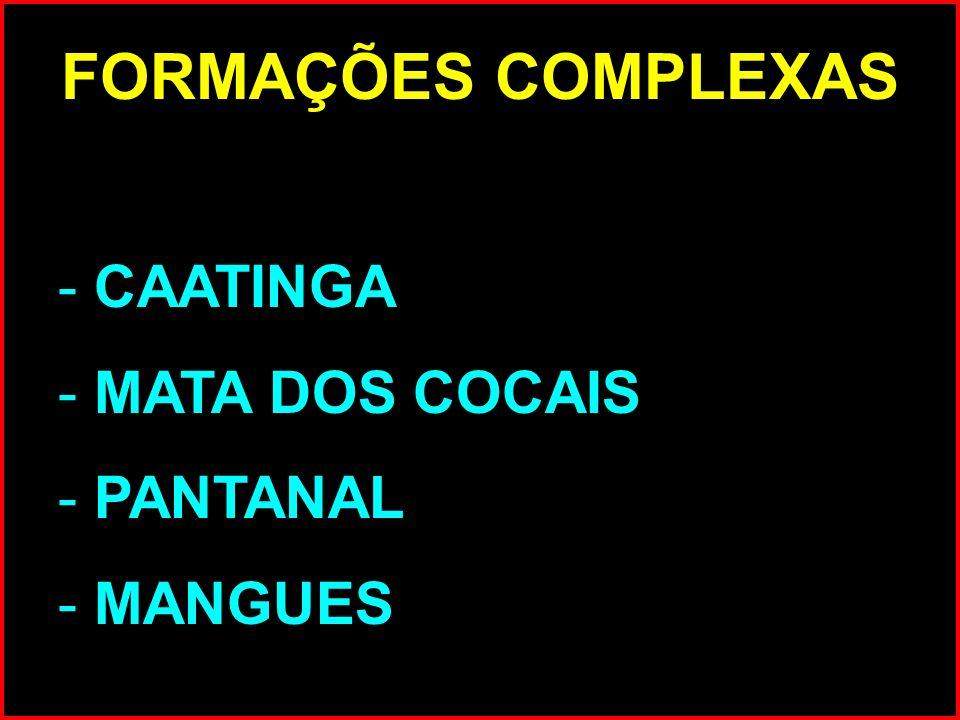 FORMAÇÕES COMPLEXAS CAATINGA MATA DOS COCAIS PANTANAL MANGUES