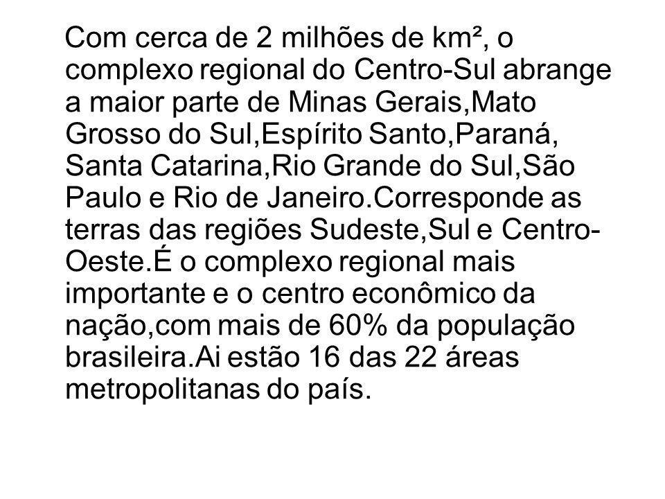 Com cerca de 2 milhões de km², o complexo regional do Centro-Sul abrange a maior parte de Minas Gerais,Mato Grosso do Sul,Espírito Santo,Paraná, Santa Catarina,Rio Grande do Sul,São Paulo e Rio de Janeiro.Corresponde as terras das regiões Sudeste,Sul e Centro-Oeste.É o complexo regional mais importante e o centro econômico da nação,com mais de 60% da população brasileira.Ai estão 16 das 22 áreas metropolitanas do país.