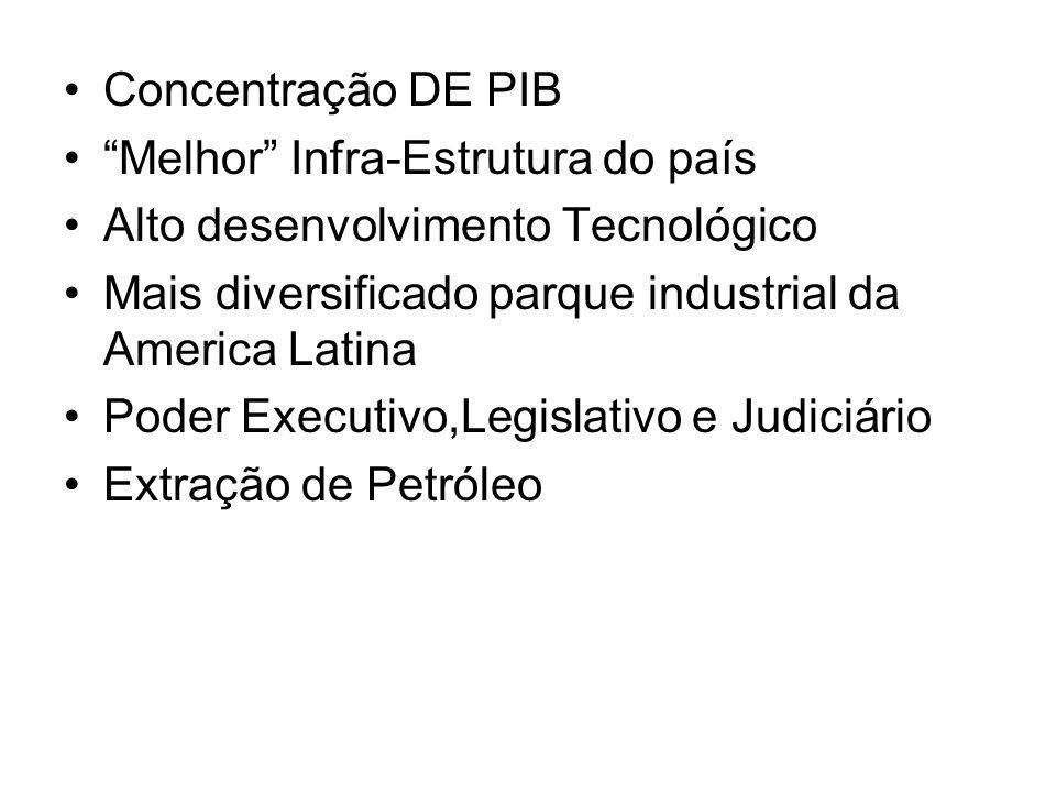 Concentração DE PIB Melhor Infra-Estrutura do país. Alto desenvolvimento Tecnológico. Mais diversificado parque industrial da America Latina.