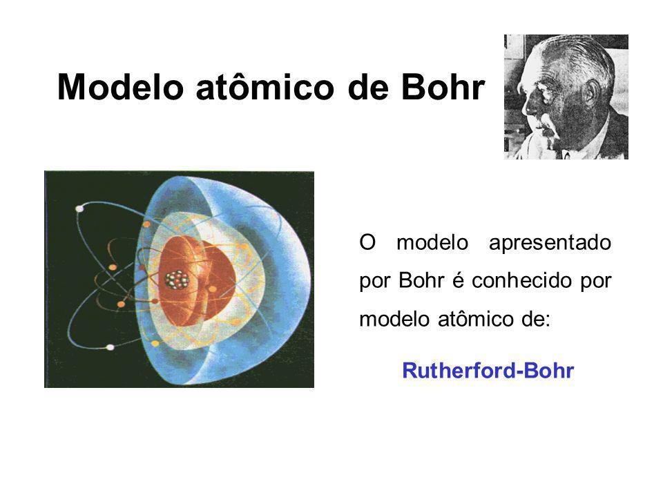 Modelo atômico de Bohr O modelo apresentado por Bohr é conhecido por modelo atômico de: Rutherford-Bohr.