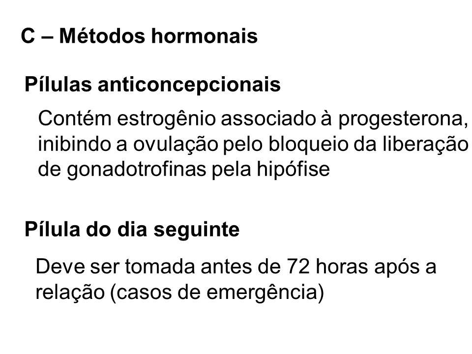 C – Métodos hormonais Pílulas anticoncepcionais. Contém estrogênio associado à progesterona, inibindo a ovulação pelo bloqueio da liberação.