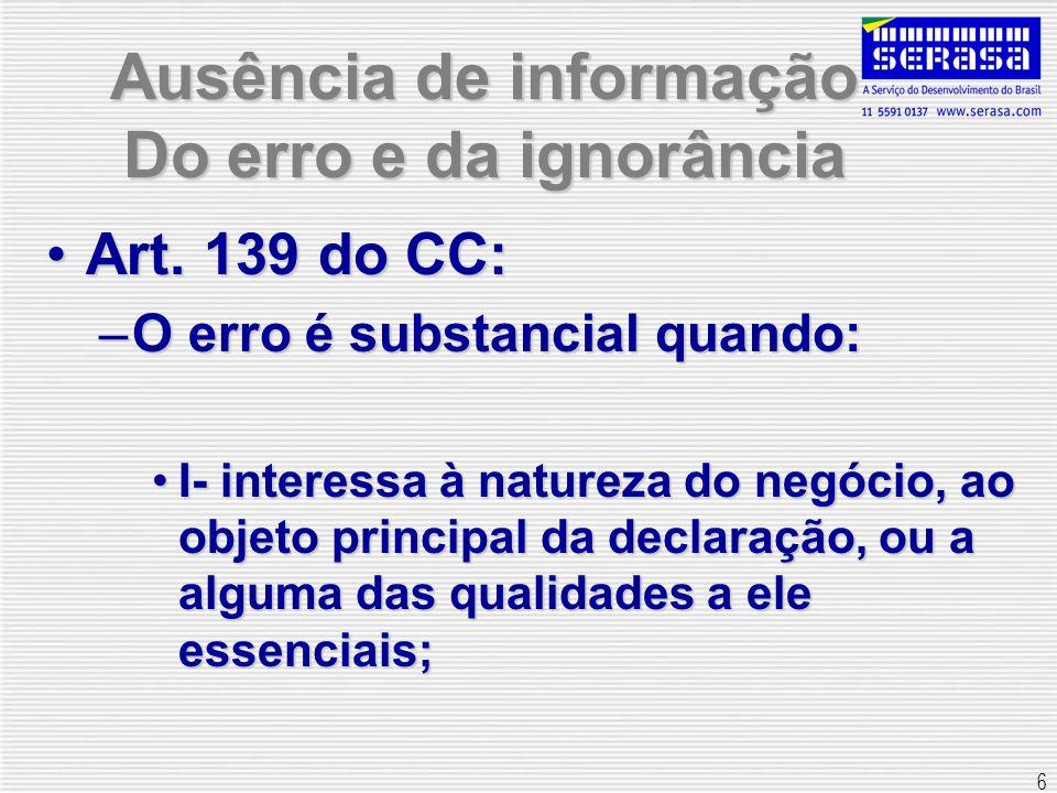 Ausência de informação Do erro e da ignorância