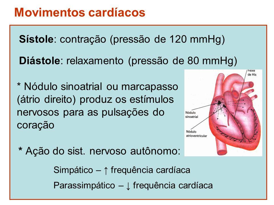 Movimentos cardíacos Sístole: contração (pressão de 120 mmHg)
